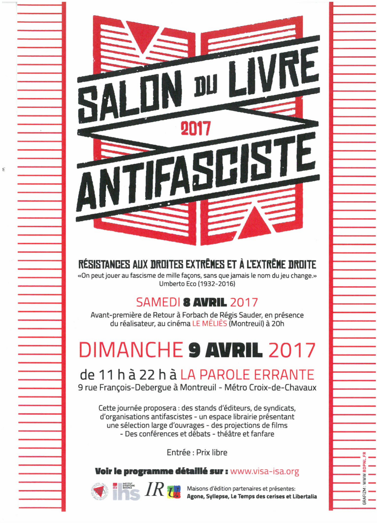 Salon du livre antifasciste syndicat national des for Salon du livre 2017